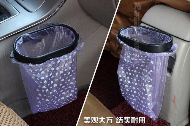 Simple Car Trash Rack Convenient Vacuum Base Garbage Bag Holder Portable Plastic