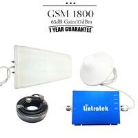 Cobrir 300 Metros Suqare GSM 1800 mhz Potência De Saída 17dBm Ganho de 65dB Mobile Phone Signal Booster Celular Repetidor Amplificador + antena