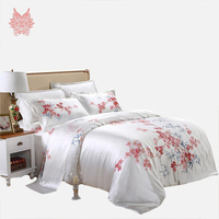 Home textile Luxury Hand Painted floral print pure silk 19mm bedding sets,duvet cover pillowcase bedding sheet King SP2090