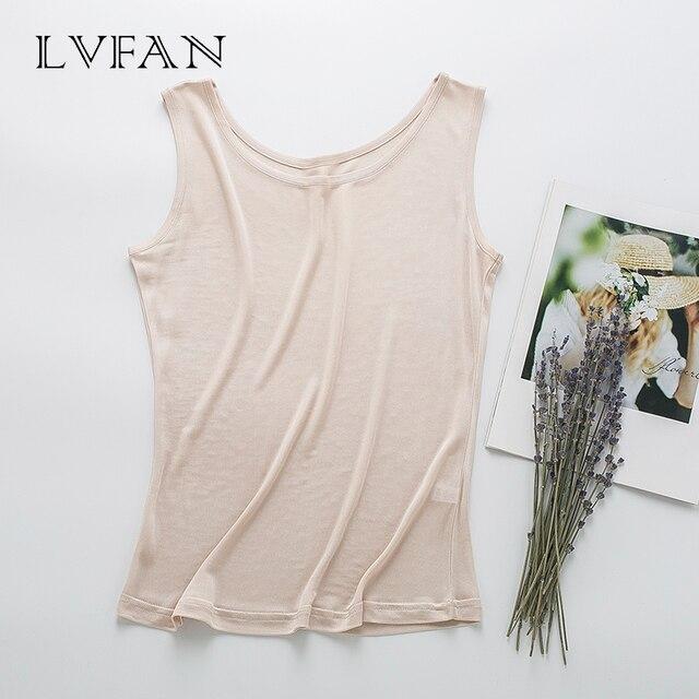 Été nouveaux hauts femmes réservoirs respirant soie solide base gilet col rond haut sans manches fond grande taille chemise LVFAN Y008