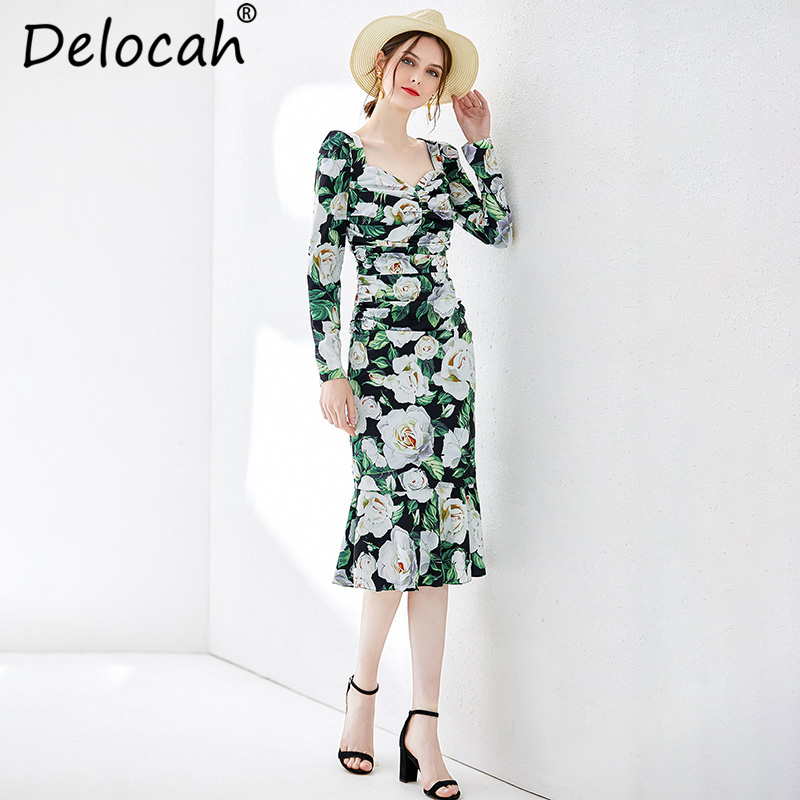 Delocah Women Spring Summer Vintage Dress Runway Fashion Sexy V Neck Draped Floral Printed Elegant Party