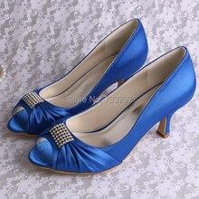 ( 20 colores ) Color brillante de los altos talones mujeres zapatos azules con picos de novia de la boda