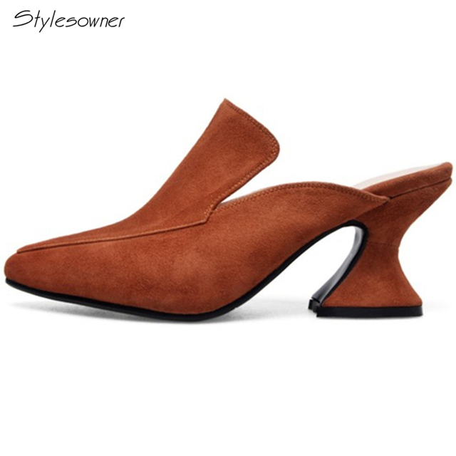 5428989c0a57 Stylesowner 2018 New Chic Novelty Genuine High Quality Suede Leather Pumps  Pointed Toe Strange High Heels Slingbacks Women Shoes