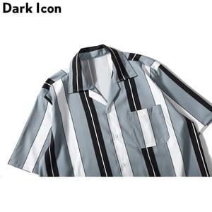 Image 5 - Dark Icoon Gestreepte Turn Down Kraag Voorvak Street Shirts Mannen 2019 Zomer Hawaii Stijl Mannen Shirts Hip hip Overhemd