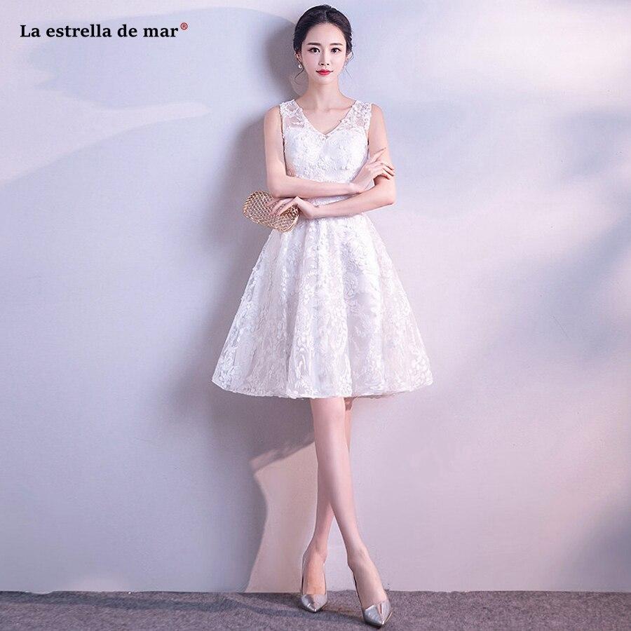 Robe demoiselle d'honneur2018 new lace a Line beige   bridesmaid     dress   short cheap vestido madrinha wholesale wedding guest   dress