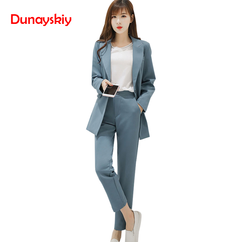 Autumn Winter Fashion Pink Blue 2 Color Pants Suits Single Button Solid OL Elegant Women's Clothes Blazers And Pants Two Pieces