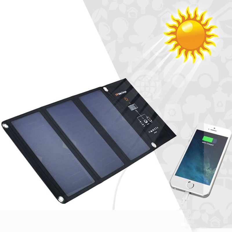 High Quality 21W Solar Charger Portable Folding Foldable Solar Panel Charger Battery Solar power bank Charger for Cellphone 2018 sunpower 21w solar panels portable folding foldable waterproof solar panel charger power bank for phone battery charger