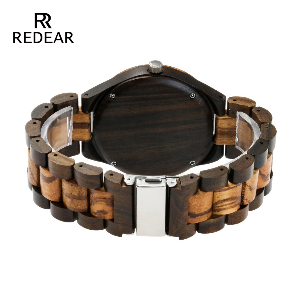 REDEAR Top Quality Wood Watch til mænd Wooden Fashion Brand Designer - Dameure - Foto 4