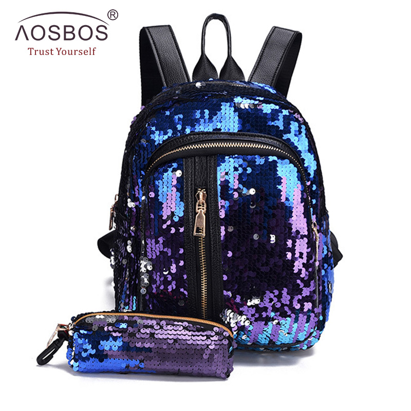 2pcs/set New Sequins Women Backpack for Teenage Girl Fashion Bling Rucksack Student School Bag with Pencil Case Clutch Mochilas