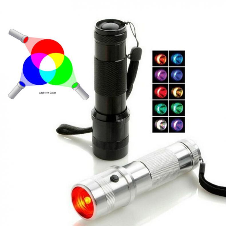 2019 New Colorshine Color Changing RGB LED Flashlight 3W Aluminium Alloy RGB Edison LED Multicolor LED Rainbow of 10 Color Torch