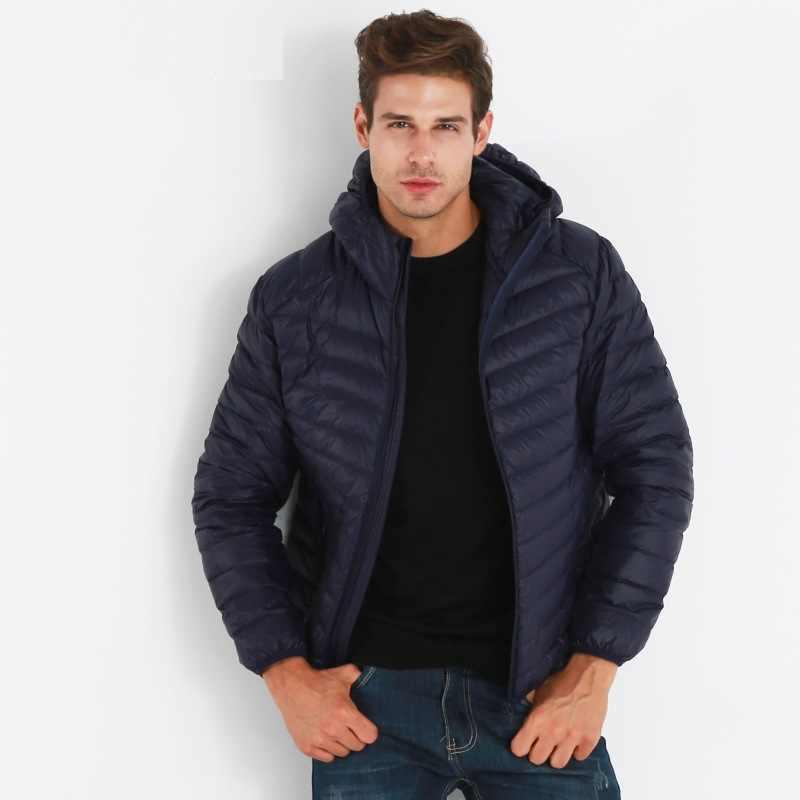 NewBang 브랜드 경량 남성 후드 다운 재킷 울트라 라이트 다운 재킷 남자 휴대용 방풍 따뜻한 코트 깃털 파카 남자