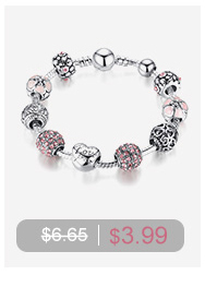 BAMOER Brand Hotsale 925 Sterling Silver Crystal Round Charms fit  Bracelets Necklace Mother Gift SCC021