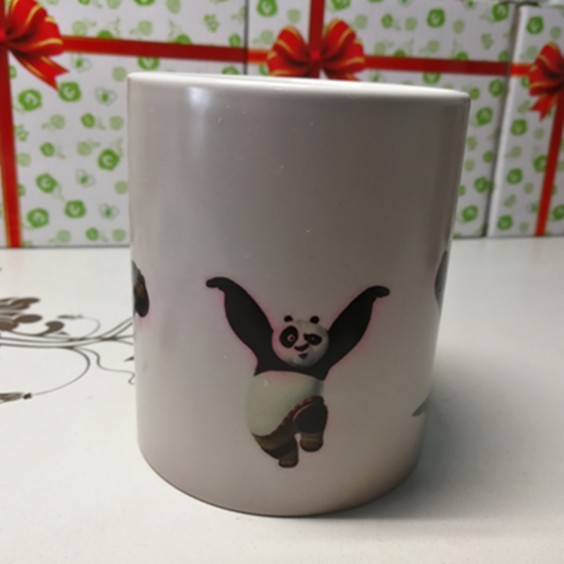 Kung Fu Panda Heat Reveal Mug Color Change Tea Coffee Cup Sensitive Ceramic Chameleon Magical Mugs Novelty Gifts