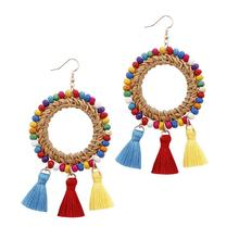 ZWPON 2019 Silver Wire Seed Beads Surround Circle Rattan Triple Tassel Earrings for Women Trendy Boho Jewelry Wholesale