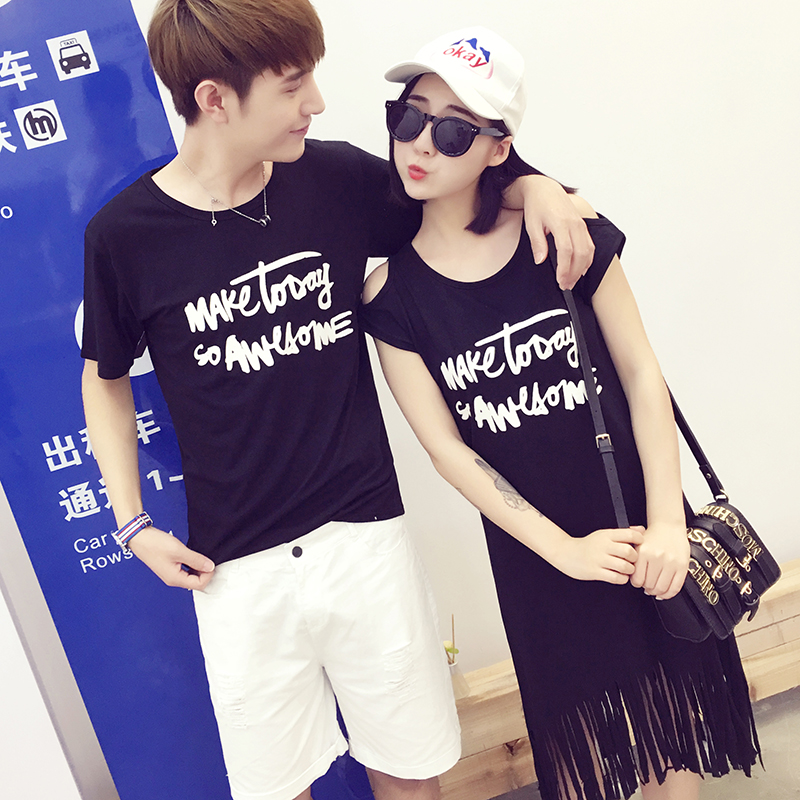 60bf65e101a9 New Fashion Korean Matching Couple Clothes For Lovers Summer Holiday Casual  Cute Sweet Letter Print Black Tassel Cotton Dress-in Dresses from Women s  ...