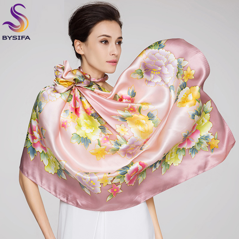 [BYSIFA] Ladies Blue Green Flowers Silk   Scarf   Shawl Winter China Style Women Head Neck Pure Silk Square   Scarves     Wraps   110*110cm