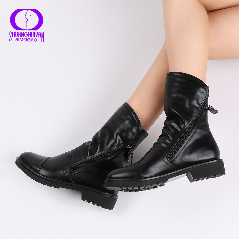 High Quality Soft Leather Women Ankle Boots Square Heel Winter Autumn Boots PU Leather Ladies Zip Ankle Boots Zapatos Mujer new 2016 fashion women winter shoes big size 33 47 solid pu leather lace up high heel ankle boots zapatos mujer mle f15