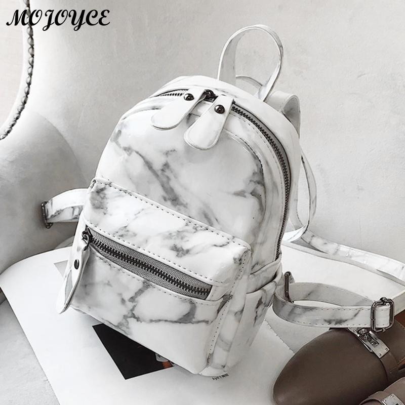 Marble Pattern Backpack Women Small Backpack PU Leather