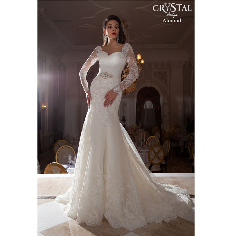 Newest Lace Wedding Dresses With Long Sleeves Appliqued