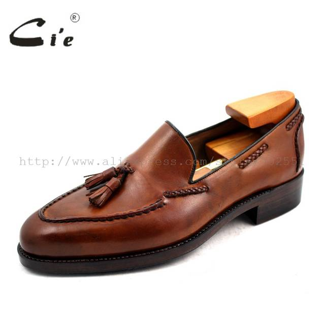 4d155459399 Online Shop cie Free Shipping Goodyear Welted Handmade Men s Leather Tassel  Color Patina brown Goodyear welted Loafer slip-on shoe No.
