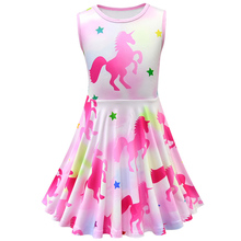 Girls Unicorn Dress Kids Birthday Party Summer Beautiful Princess Printed Clothes 3-10 Years Old