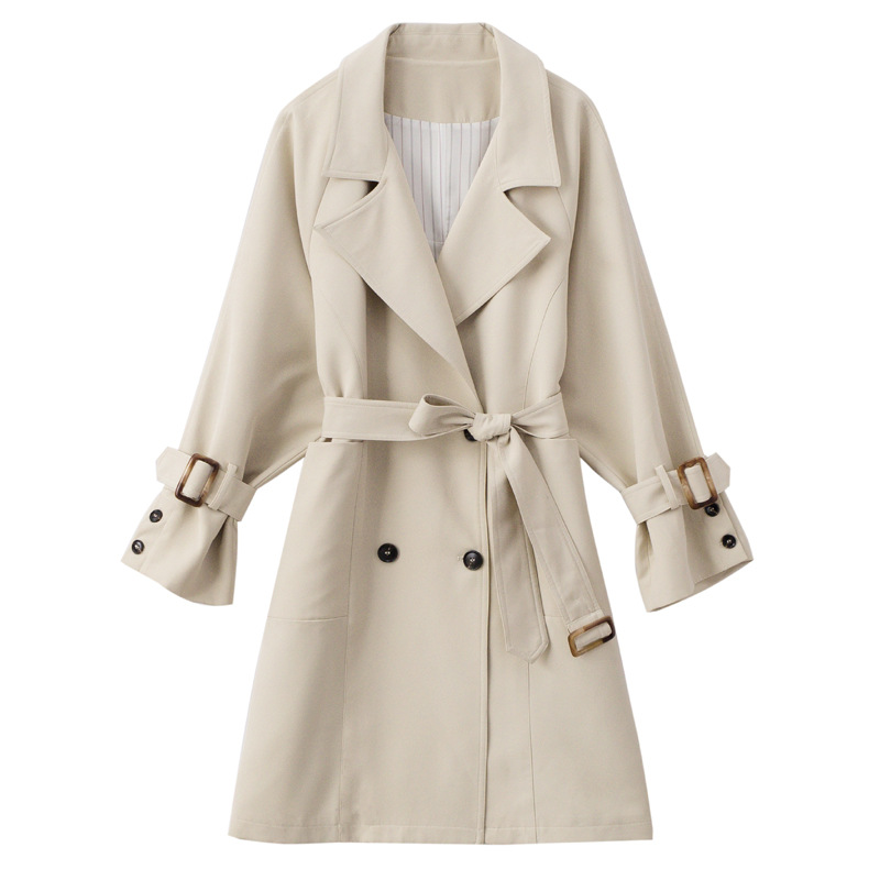 2019 New Arrival Classic Basics Beige Lapel Windbreaker Women Spring Autumn Fashion Belted Waist Long   Trench   Coat Overcoat