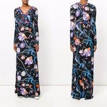 女性の新しいと長いボヘミアンvネックニットスリムファッションslikジャージードレス