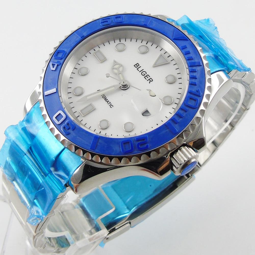 Bliger 40mm white dial date blue Ceramics Bezel luminous saphire glass Automatic movement Men's watch цена и фото