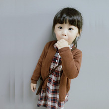 fashion new spring Europe Children's solid Cardigan sweater boy girl long sleeve clothes baby tops blue cotton 8 color
