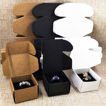 2017 Wholesale Free Shipping DIY 40x40X25MM Kraft Ring Box Inside Black Velvet Sponge  Unfold Jewelry Display BOX Earring