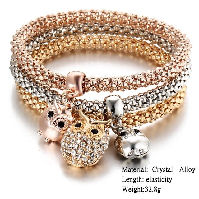 Rose Gold Crystal Owl Charm Bracelets 5
