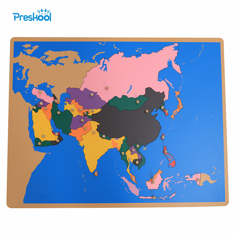 Baby Toy Montessori Puzzle Asia Map Learning & Education Early Childhood Education Kids Toys Brinquedos Juguetes montessori education wooden toys four color game color matching early child kids education learning toys building blocks
