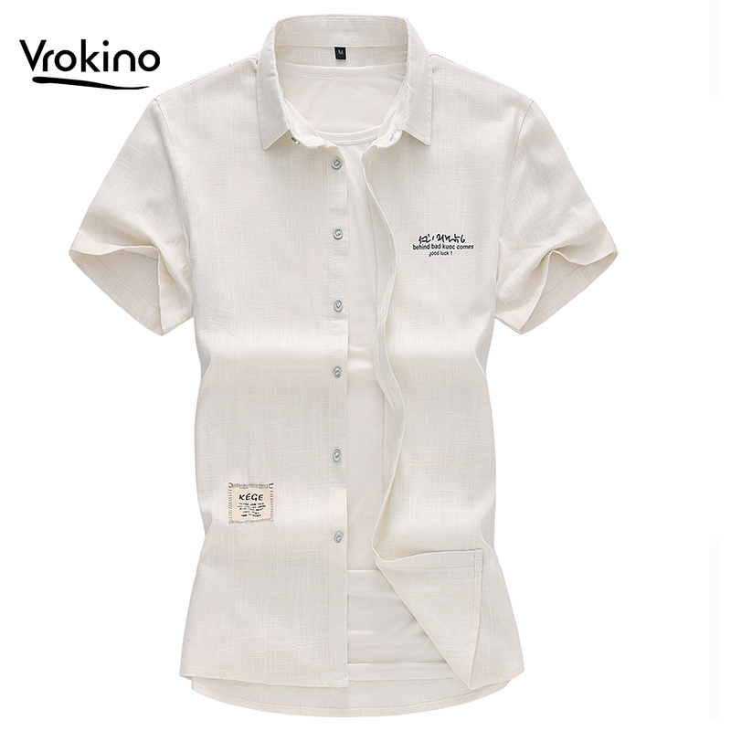 New 2019 Men's High Quality Solid Color Linen Short Sleeve Shirt Chinese Wind Large Size Linen Shirt 5XL 6XL 7XL Brand Clothing