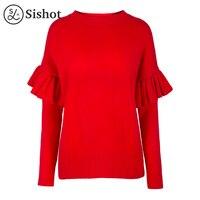 Sishot Women Casual Knitwear 2017 Autumn Red Plain O Neck Cute Ruffle Long Sleeve Slim Patchwork