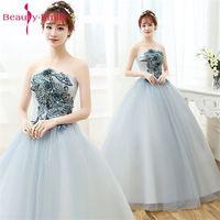 Beauty Emily 2018 A Line Vintage Flower Wedding Dresses Silver Sleeveless Floor Length Dress Vestido De Noiva Bridal Gowns