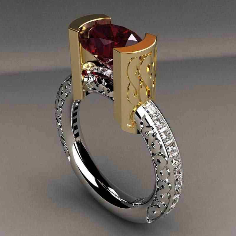 خواتم Tisonliz كلاسيكية باللون الأحمر على شكل كريستال للنساء والرجال من الفضة والذهب بلونين من خواتم الخطبة والزفاف مجوهرات خواتم الخطبة للسيدات