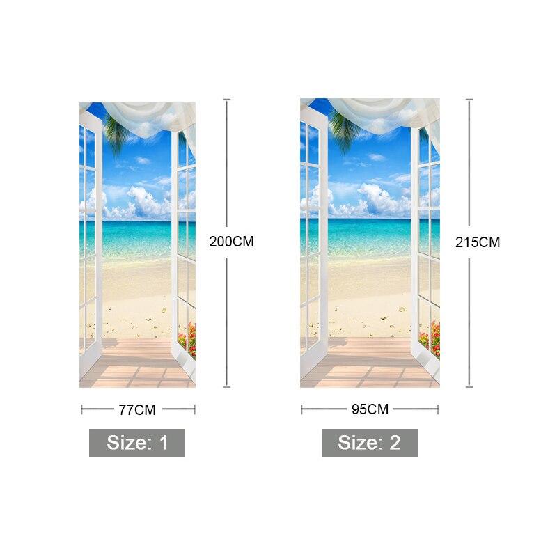 PVC Self-adhesive Door Sticker Window Sandy Beach Seascape 3D Photo Wallpaper Mural Living Room Bedroom Door Decoration Stickers