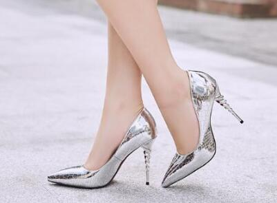 2018 spring and autumn new women black/silvery/gold pointed toe high heel pumps Ladies sexy shallow thin high heel shoes 10cm free shipping 2017 new hot high heeled women pumps autumn sexy apricot and pink up black white shoes fashion round toe shallow
