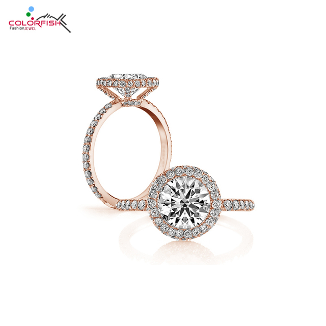 Sterling Silver Rose Gold Plated Engagement Ring Halo 2 Carat Round Cut Synthetic Diamond Jewelry Bridal Wedding Rings For Women