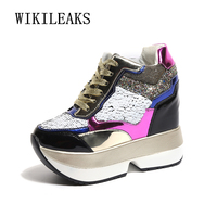 spring 2018 women wedge casual shoes height increasing platform sneakers patent leather bling gold silver women vulcanize shoes