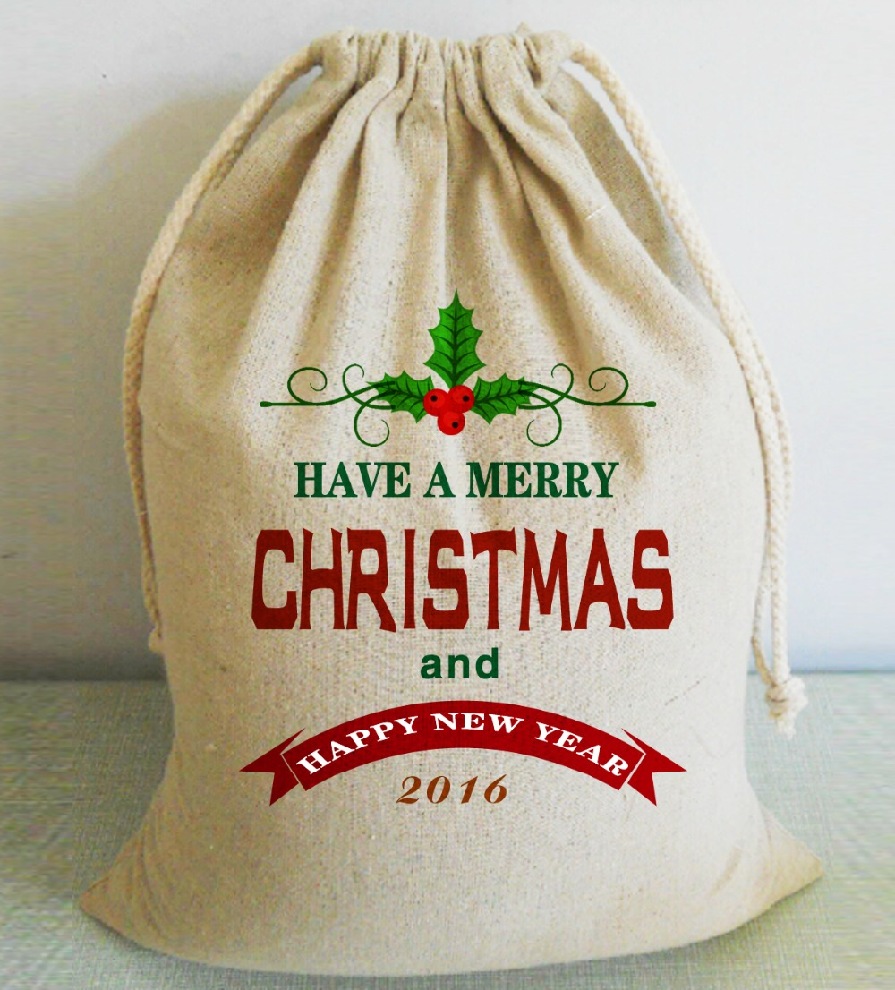 Have A Merry Christmas and Happy New Year Custom Christmas Santa Sack Unique Xmas Stocking Bags Home Decor Gift Favors Bags