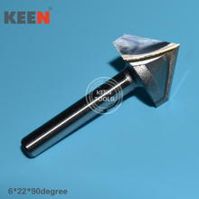 QMD6*22*90Degree   V Shape Woodworking Milling Cutters, CNC Router Bits, Wood Engraving Tools on 3D Carving Cutting Machine   p60 16 6 120mm v shape ball nose bit cnc grinding diamond stone router bits milling cutter for engraving 3d letter carving
