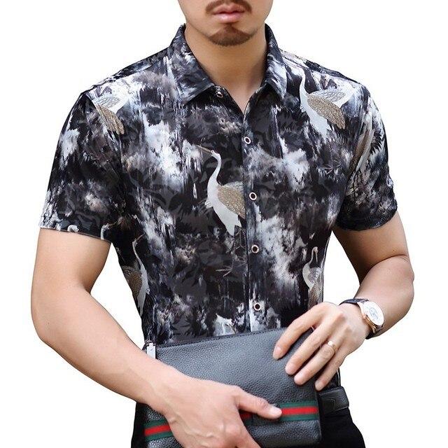4ef01dcea8 Bird Ink Print Velvelt Shirt Men 2018 Summer Button Down Business Casual  Print Shirt Velvet Male Shirt Camicia Uomo