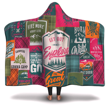 patchwork pink green pattern Blanket Hooded Blanket 3D full print Wearable Blanket Adults men women Blanket style-8 all over pattern blanket