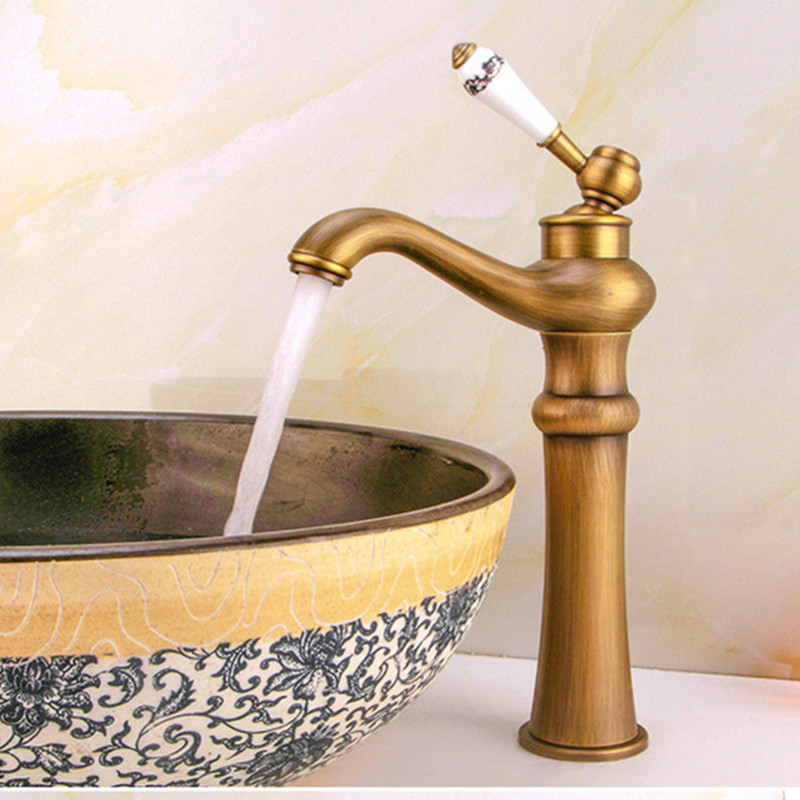 free shipping ceramic handle antique basin faucet with deck mounted bronze bathroom faucet of solid brass - Bronze Bathroom Faucet