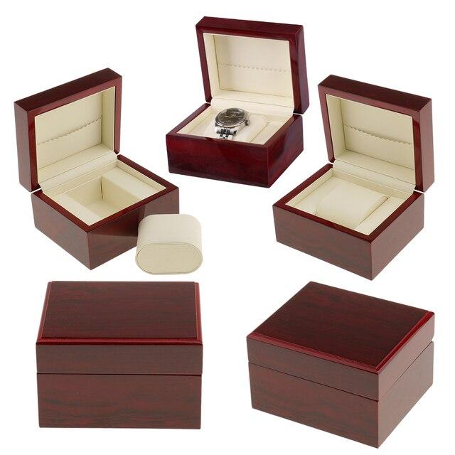 5pcs Single Slot Wooded Watch Box 1 Slot Wood Jewelry Organizer