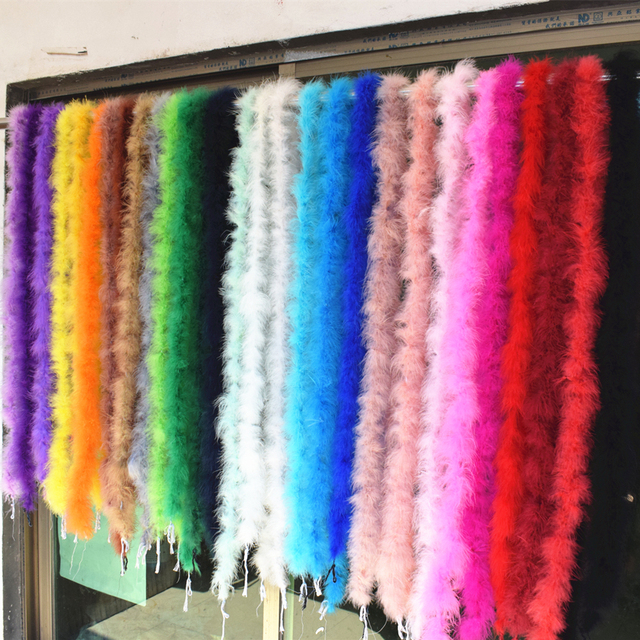Beautiful 2 m / Various colors of natural turkey feather boa / slim evening dress / clothing / shawl / cosplay 2