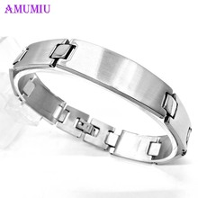 AMUMIU Medical Alert ID Bracelet For Women Men Stainless Steel Adjustable Watch Band Emergency Jewelry B040 length adjustable strap bracelets for man women watch band style stainless steel net band christian cross prayer male jewelry
