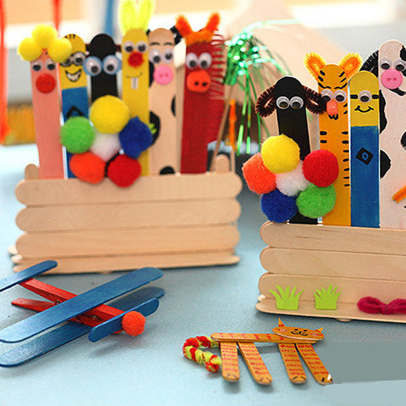 Fashion Childrens DIY Primary Color Ice Cream Wooden Sticks Creative Handmade Crafts Toys Simple Art Tools Accessories In From Home