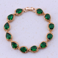 Elegant Green Created Emerald Yellow Gold Plated Fashion Jewelry Charm Bracelets For Women Party Free Gift